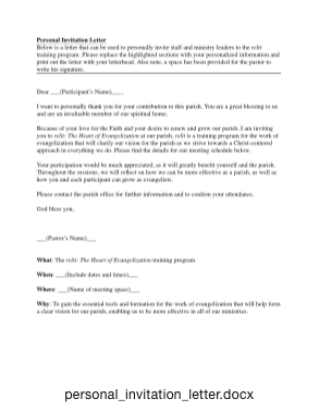 Personal Invitation Letter